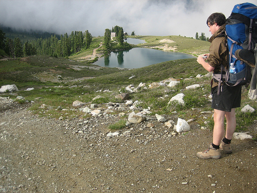 Hiker at Elfin Lakes