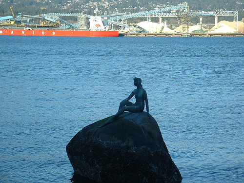Vancouver Seawall Girl in a Wetsuit Statue