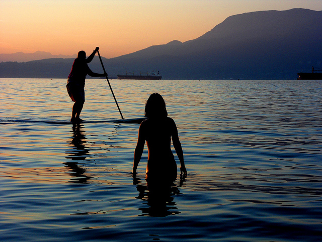 Swimmer and Paddleboarder at Jericho Beach