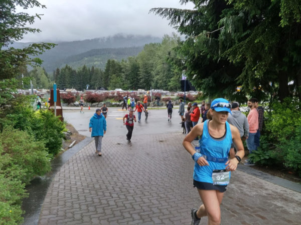 Approaching the Whistler Half Marathon Finish Line
